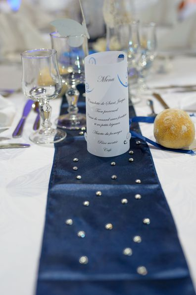 Photophore mariage bleu for Chemin de table bleu